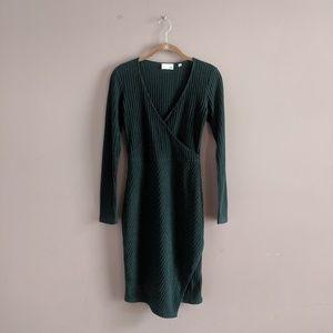 Wilfred Free Artizia S Dark Green Wrap Dress Midi